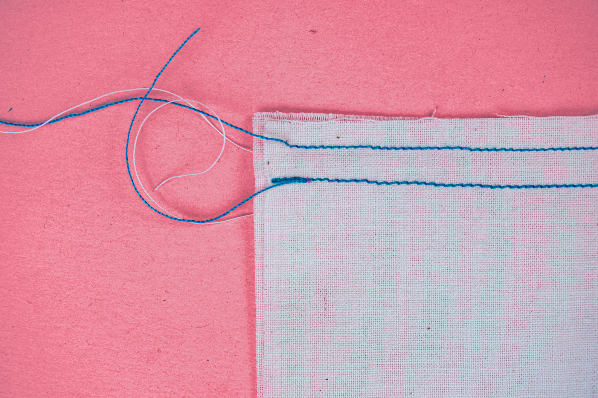 A backstitch in shown on white fabric.