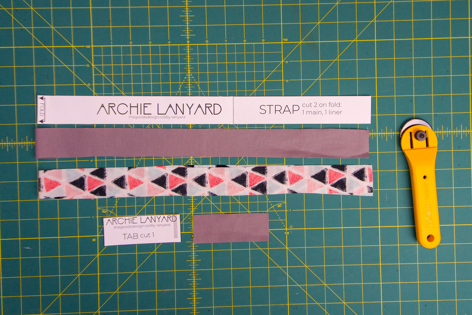 Cut pieces for homemade lanyard.