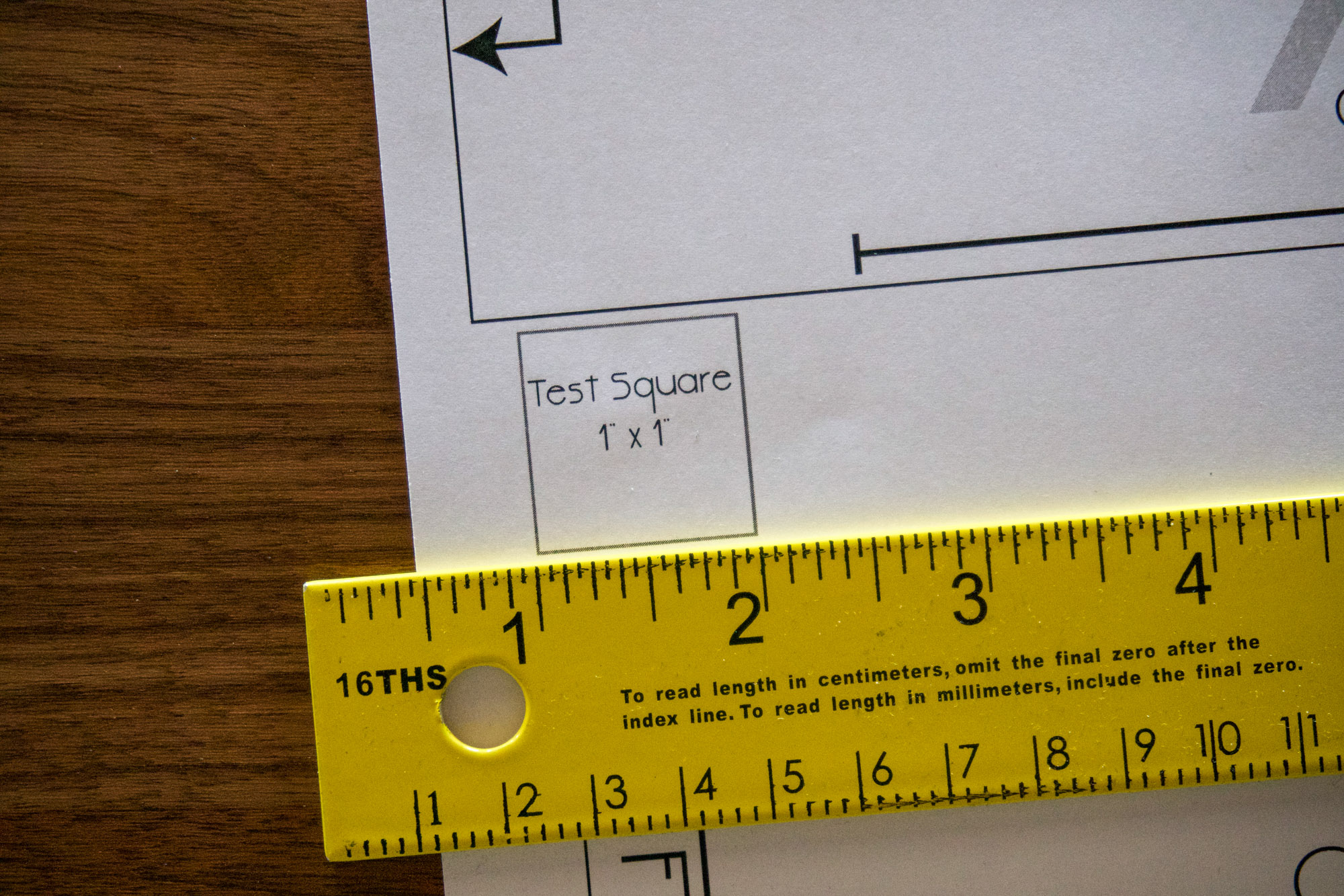 Measuring the test square on the pattern.