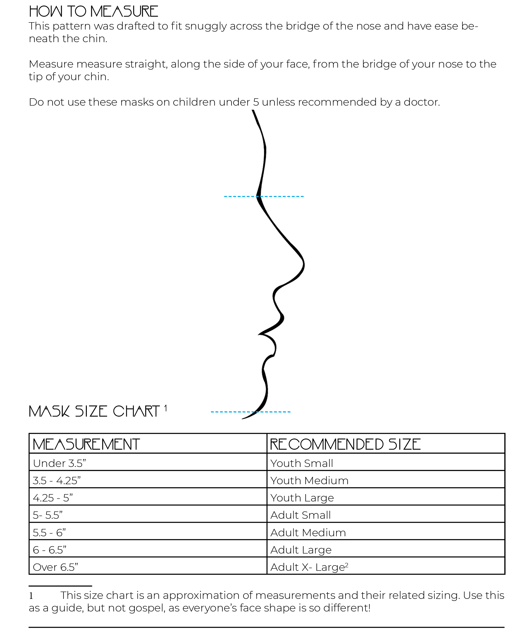 Mask measuring chart.