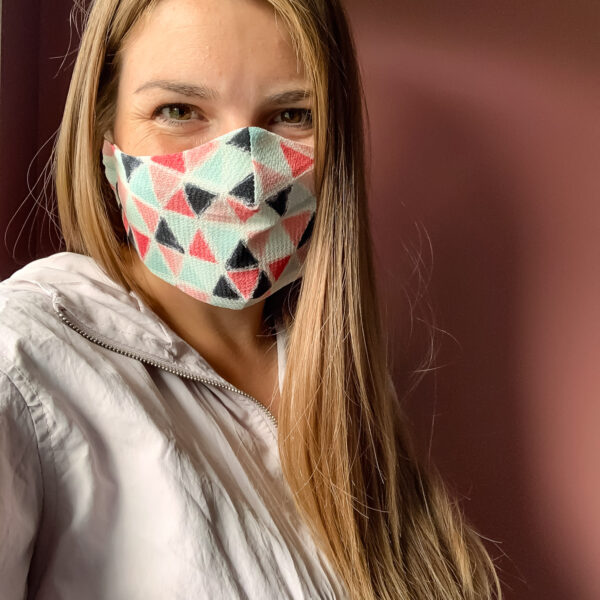 Wearing the face mask.