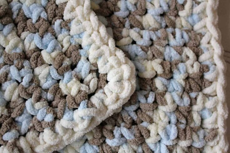 Showing the border of the crochet blanket.